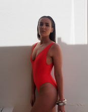 Load image into Gallery viewer, BOND HIGH CUT ONE PIECE,deep scoop back and scoop front swimming costume or swimsuit - SOMMERSALT RED - GERRY CAN