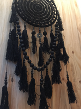 Load image into Gallery viewer, Enchanting Medium Size Crochet Tassel Dreamcatcher HAND MADE WALL HANGING- BLACK
