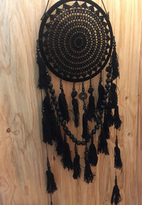 Enchanting Medium Size Crochet Tassel Dreamcatcher HAND MADE WALL HANGING- BLACK