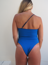Load image into Gallery viewer, The Avalon is a high cut one piece swim suit, in navy and blue reversible sides, it is also seamless by GERRY CAN