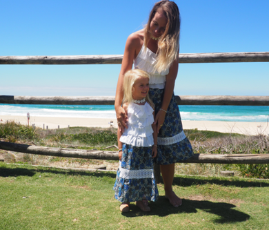 iluca the label: MADDISON BLUE MAXI SKIRT W/ CROCHET DETAIL- KIDS