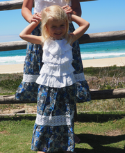 Load image into Gallery viewer, iluca the label: MADDISON BLUE MAXI SKIRT W/ CROCHET DETAIL- KIDS