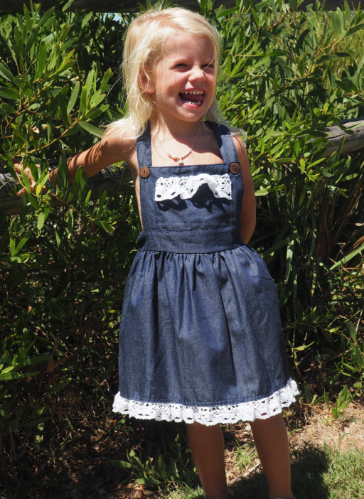 Vintage Rogue DENIM  Pinafore with Crochet Detailing (Girls Version)- HANDMADE