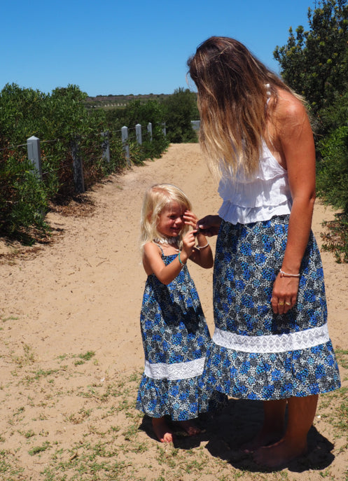 ilcua the label: MADDISON BLUE SKIRT W/ CROCHET DETAIL- WOMENS- Handmade of organic cotton and crochet