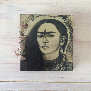 KazMexico  FRIDA KAHLO SMALL RECYCLED PAPER JOURNAL-  SELF PORTRAIT WITH TEARS AND HUMMINGBIRD EYEBROWS
