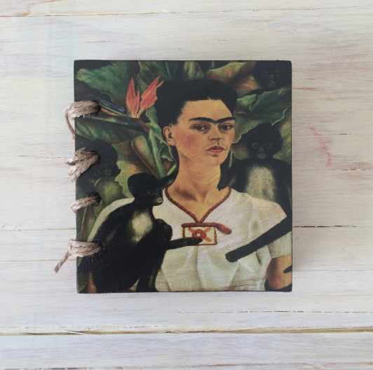 KazMexico  FRIDA KAHLO SMALL RECYCLED PAPER JOURNAL- Self Portrait with Monkey