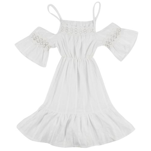 Detailed Flower Indie Dress - Kids