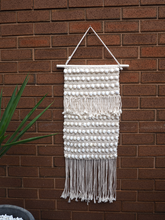 Load image into Gallery viewer, Long Macrame shell knotted boho wall hanging