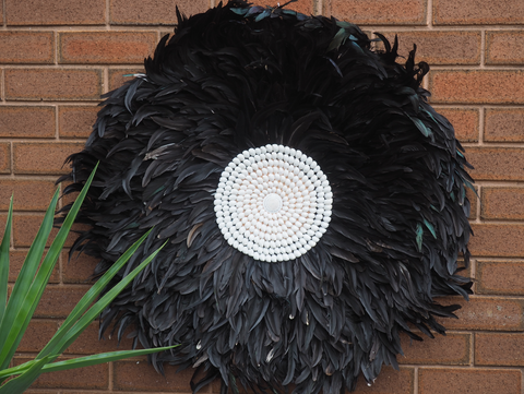 GIANT BLACK FEATHER AND SHELL FEATHER JUJU HEADRESS WALL HANGING