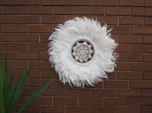 Load image into Gallery viewer, white feather juju with crochet centre, beige highlights and  shells, flat wall hanging