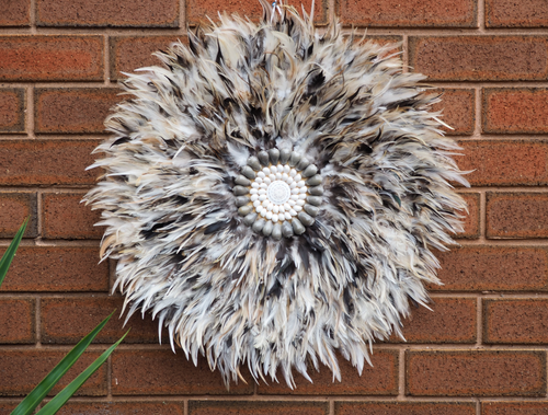 VARIETY NEUTRAL GREY AND BEIGE TONE FEATHER JUJU HEADDRESS WALL HANGING