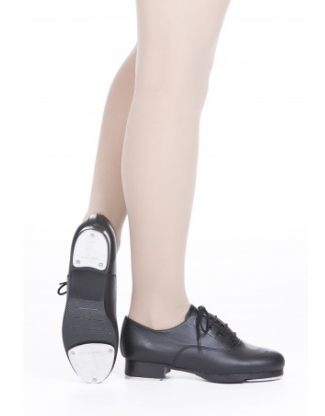 Slick Tap shoes lace up black oxford type tap fitted with ACOU-TECHS toe and heel tap plates which give an amazing full, clear and crisp sound.