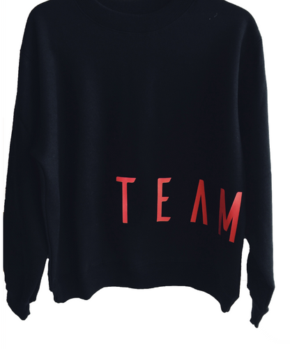 TEAM GERRY EDITION Black sloppy joe with bold red team gerry print at bottom front and back . JUMPER is UNISEX - GERRY CAN