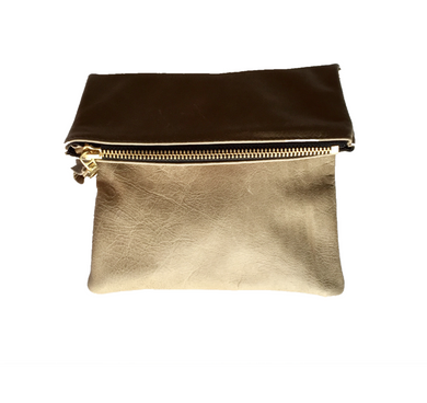 Lorda + Jean: 'Petite Foldable' Large Dusty Olive Genuine Handmade Leather Clutch with Metallic Detailing