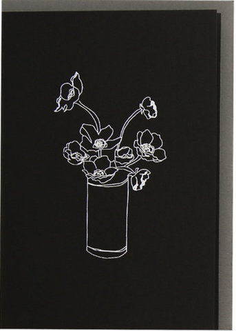 ME AND AMBER: PLUS VASE FLOWERS BLACK SCREEN PRINTED CARD