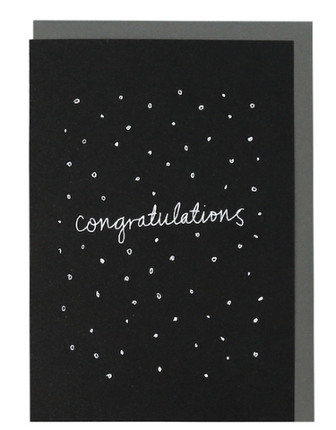 ME AND AMBER: PLUS CONFETTI CONGRATULATIONS BLACK SCREEN PRINTED CARD