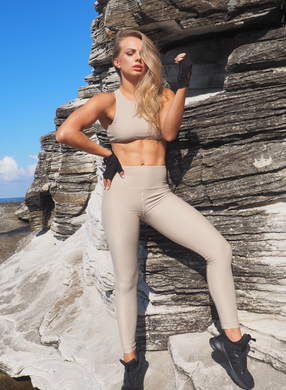 CELINE high waisted, squat proof full length leggings for gym wear, yoga or streetwear. Not transparent and heavy weight wicking fabric in  LIGHT TAN - GERRY CAN