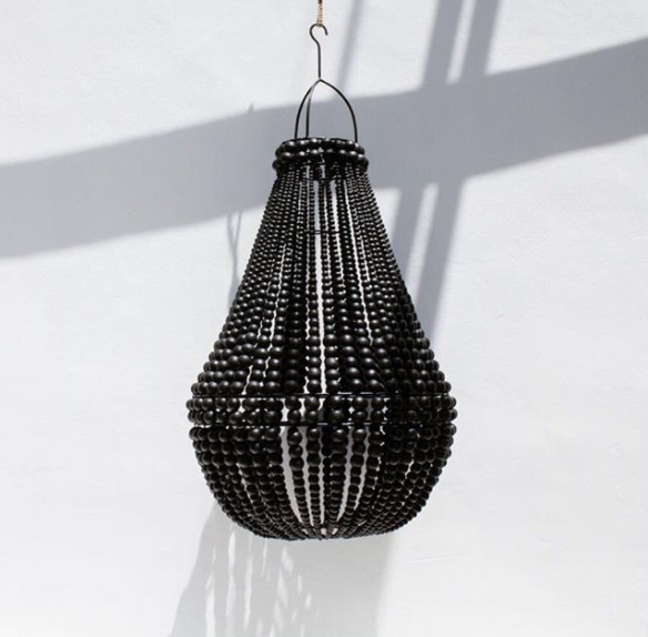 HAMPTONS WOODEN BEADED CHANDELIER BY THE DESIGN STORE- BLACK