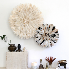 Load image into Gallery viewer, Natural White/ Cream Feather Juju Hat Wall Hanging