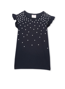 MILKY- GIRLS FRENCH NAVY FRILL CONFETTI TEE