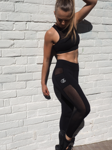 HYBRID  MESH leggings in black with side panels that double as a pocket - HIGH PERFORMANCE Leggings for gym,yoga or street, squat proof tights with wicking properties by GERRY CAN