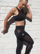 Load image into Gallery viewer, HYBRID  MESH leggings in black with side panels that double as a pocket - HIGH PERFORMANCE Leggings for gym,yoga or street, squat proof tights with wicking properties by GERRY CAN