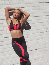 Load image into Gallery viewer, PEAK PRO Zip front supportive crop top in black and red block colours - GERRY CAN
