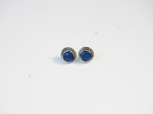 Plaited Deep Blue Hand Made Sterling Silver Stud Earrings
