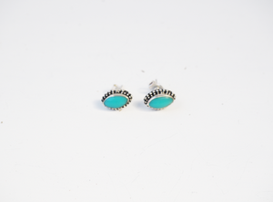 Turquoise Sterling Silver Hand Made Oval Stud Earrings