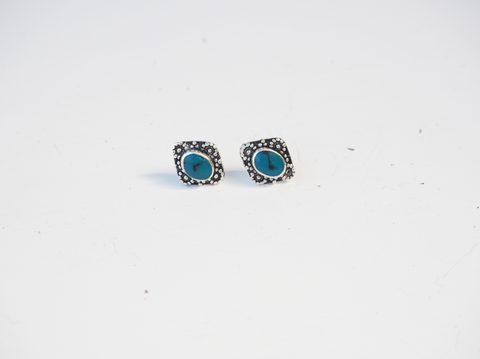 Diamond Shape Turquoise Hand Made Sterling Silver Earrings