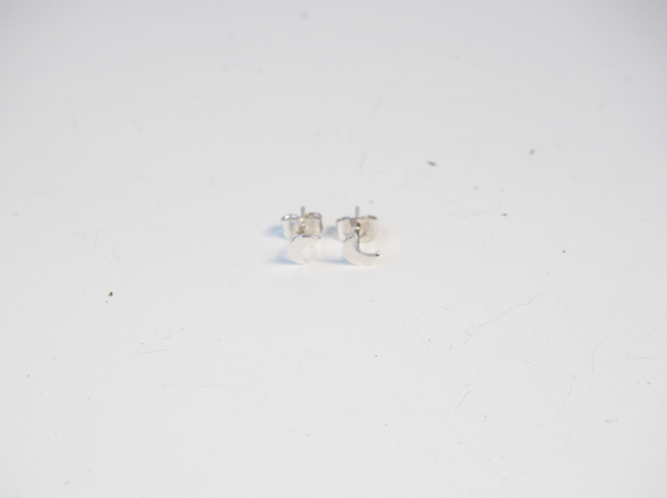 Moon Silver Sterling Stud Earrings