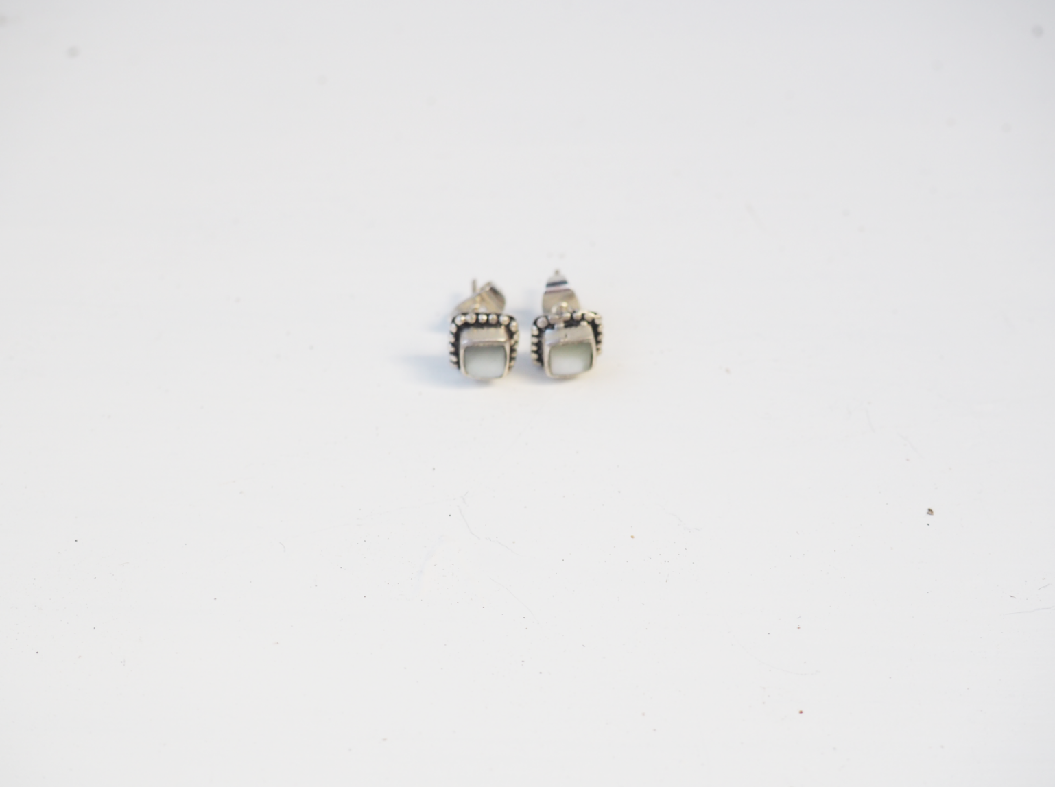 White Stone Rectangle Sterling Silver Hand made Stud Earrings