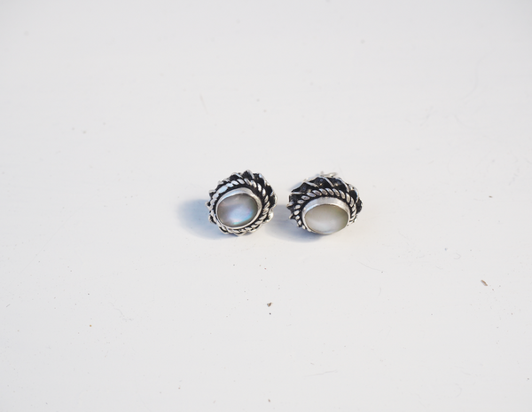 Sterling Silver White Stone Detailed CIRCULAR Stud EARRINGS