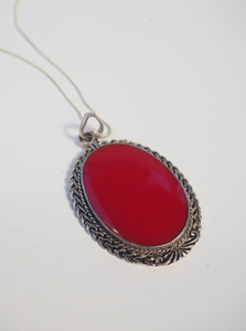 CORAL RED LARGE PENDANT STERLING SILVER