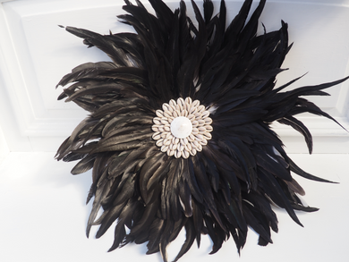 Ostrich Black Feather Wall Hanging juju - Small
