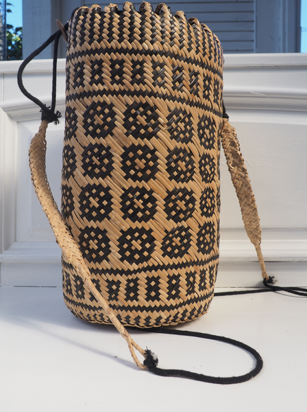 Mono Pattern Straw woven bucket bag