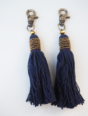 Classic Navy Tassel and Metallic Tassel Keyring