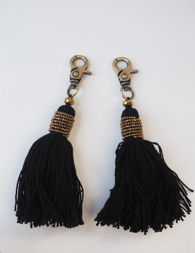 Black Tassel and Metallic Tassel Keyring