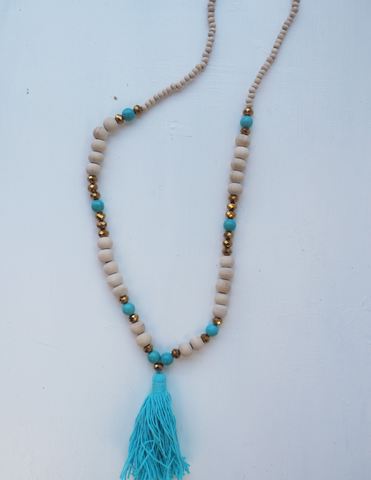 Turquoise and Metallic Beaded Tassel Necklace- 'Tribal Lady'