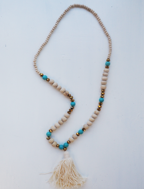 Natural Cream and Metallic Beaded Tassel Necklace- 'Tribal Lady'