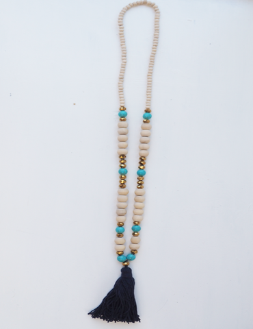 Navy Detailed and Metallic Beaded Tassel Necklace- 'Tribal Lady'