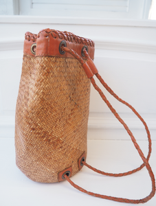 LEATHER DETAIL RATTAN BASKET BAG WITH MATERIAL INNER