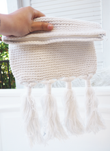 Load image into Gallery viewer, MEGA TASSEL CLUTCH - MY STORE SYDNEY ORIGINAL MACRAME DESIGN ( WHITE)