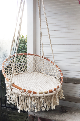 Boho MACRAME HANGING CHAIR- Natural