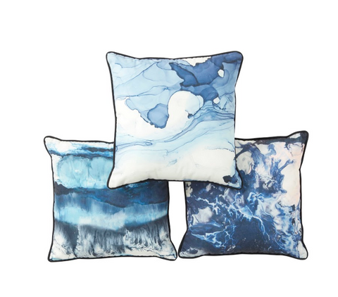 Florida Blue Flow Cushions - 3 assorted