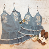 Denim Embroidered Ruffle Top