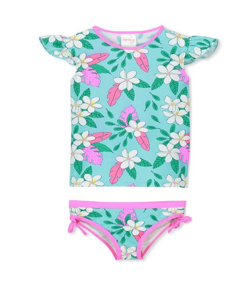 Milky Tropical Girls Swim Set in Aqua Marine
