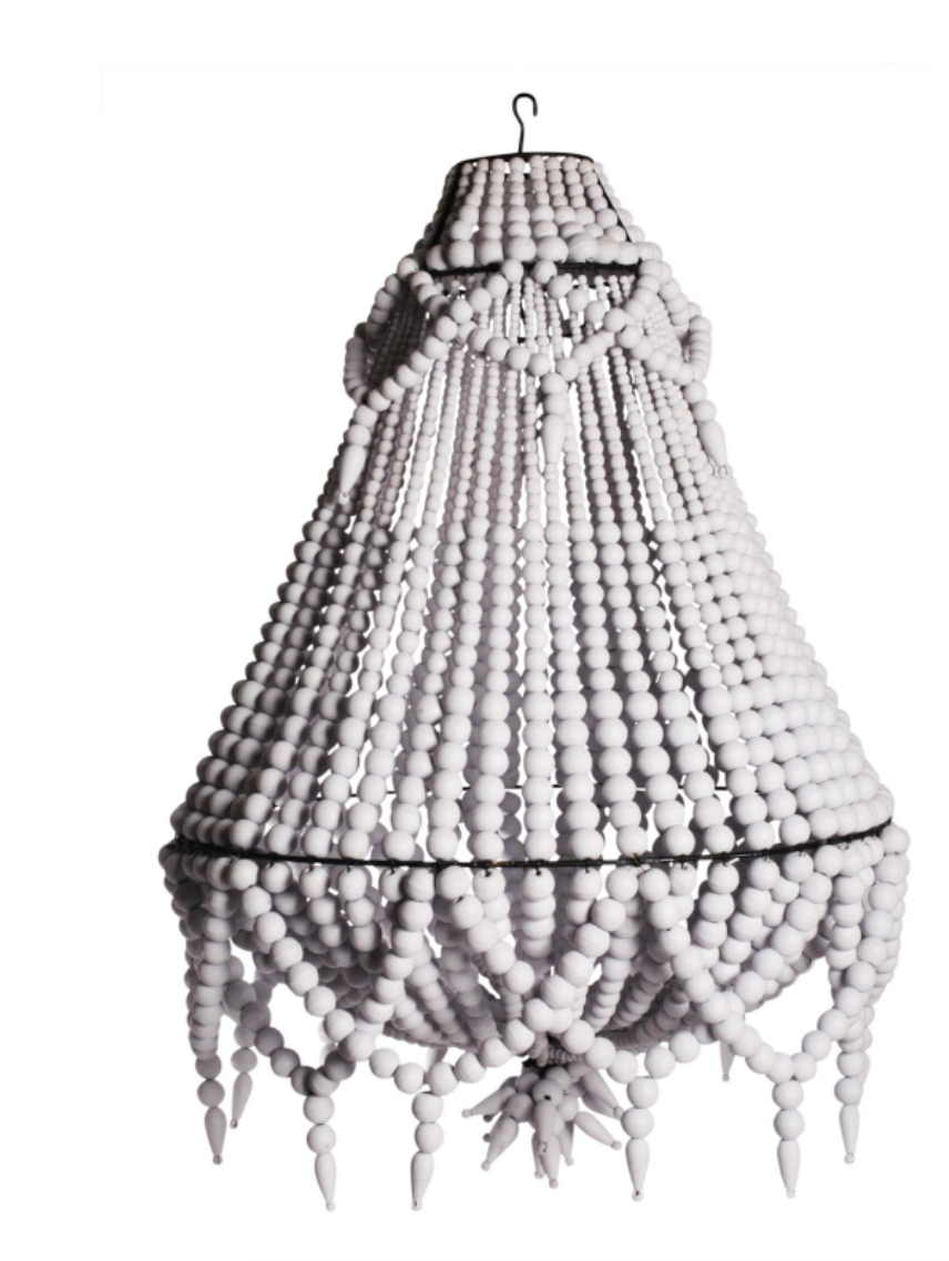 Ecora Boho Detailed Beaded Chandelier Pendant light in White