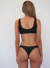 Load image into Gallery viewer, George Seamless Tie front Bikini Set with minimal bottoms in seamless lycra BLACK - GERRY CAN