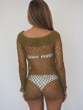 Load image into Gallery viewer, LUI Crochet Dress in Olive little slip crochet dress to be worn over swimwear or clothing  GERRY CAN